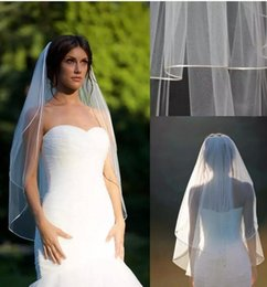 "Wholesale Veil Double Edge - Short Fingertip veil blusher double tier fingertip veil with 1 8"" corded satin trim satin cord trim Bridal veils ivory muslim veils 2017"