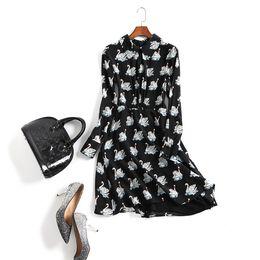 Wholesale Peter Pan Neck Dresses - Runway Designer Dress Women's High Quality Long Sleeve Peter Pan Collar Swan Animal Printed Casual Silk Vestidoes YA1