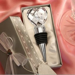 Wholesale Heart Crystal Wine Stoppers - Stopper Wedding Heart Shaped Wedding Favors Gifts Crystal Wine Bottle Stopper Souvenirs Giveaways for Guest Kitchen Dining Barware Tools