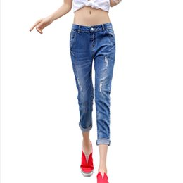 Wholesale Jeans Woman Size 32 - Wholesale- New summer fashion hole mid waist stretch jeans women Personality nine points denim pants Blue Plus size 25-32 M234