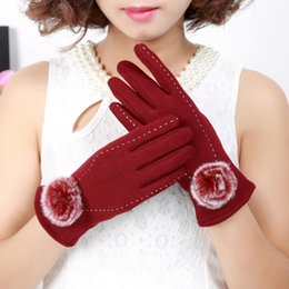 Wholesale Lady Ball Slim - 2017 New Ladies Fingers Gloves With Imitation Rabbit Fur Ball Grace Design Slim Winter Warm Touch Screen Gloves 5 Colors