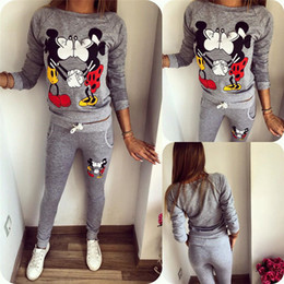Wholesale Casual Suits For Ladies - 2016 Rushed Promotion Regular Spring Autumn Women Sets Mini Mouse Tracksuits For Sweatshirts&trousers Lady Suits Hoodies For