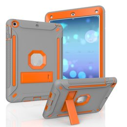 Wholesale Ipad Mini Case Dots - 3 IN 1 Hybrid Armor Defender Sillicon Case with Kickstand Shockproof Cover For New iPad 9.7 5 6 Air 2 Mini 3 Pro 10.5 OPPBag
