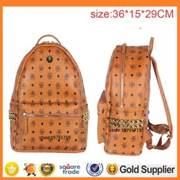 Wholesale Tartan Backpack Leather - New Arrival Fashion School Bags Hot Punk style Men Women Backpack Rivet Crown Student Backpack PVC Leather Lady Bags size for 40*35*15cm