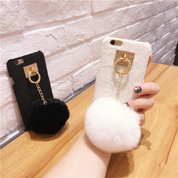 Wholesale Mobile Ball - Hot Villose Phone Hard Back Cover With Luxury Fur Ball Phone Case For Iphone 6 6S 7 Plus Mobile Phone Case Capa Fundas