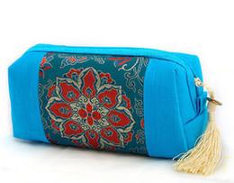 Sacchetti cosmetici di seta online-Sacchetto della frizione della donna del nappa della borsa del mestiere della rappezzatura per il sacchetto di trucco Sacchetto cosmetico della chiusura lampo del sacchetto di carta del broccato di seta cinese