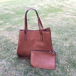 Wholesale Wholesale Bridesmaids Purses - Large PU Leather Tote Bag Set Wholesale Blanks Ladies HandBag Bag with Moveable Inside Coemtic Bag Bridesmaid Tote Purse DOM106454