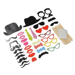 Wholesale Glass Bow Tie - Wholesale-New Creative Funny 32pcs Party Masks Mustache Glasses Bow Tie On A Stick Wedding Party Holiday Props