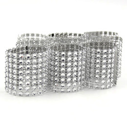 Wholesale Chair Sashes For Sale - Wholesale- 20PCS Lot Hot Sale Silver 8 Rows Bow Covers With Closure Napkin Ring Diamond For Wedding Party Chair Sashes Decoration Crafts