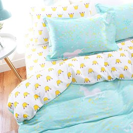 Wholesale Cribs Sales - Wholesale- Cotton Scandinavia Kawaii Crown Unicorn Bedding Set Teen US RU Twin Full Double Queen Size Duvet Cover Set Nordic Bed Set Sale