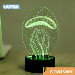 Wholesale Visual Lighting - Wholesale- New style 7 Color Jellyfish 3D Visual LED Night Lights Acrylic For Kids Touch USB Table Lampara Lampe Baby Sleeping Night Light
