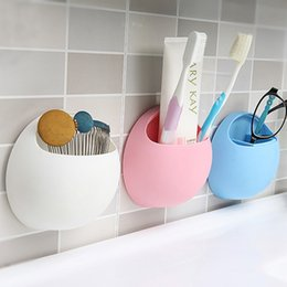Wholesale Suction Rack Bathroom - Practical New Cute Eggs Design Toothbrush Sucker Holder Suction Hooks Cup Organizer Toothbrush Rack Bathroom Kitchen Storage Set