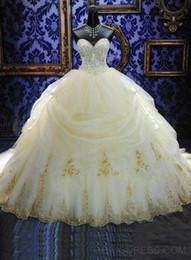 Wholesale Dress 14 Years - 2017 16 Years Dress Ball Gowns Debutante Quinceanera Dresses Lace Appliques Organza Gold Beaded Sequined Masquerade Gowns Custom Made