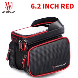 Wholesale Bike Fabric - Bike front frame bag PU fabric Voltage film design Earphone hole Waterproof Phone Bags touch screen shade design firmly installed hot sales