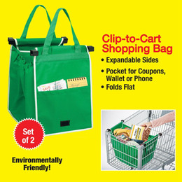 Wholesale Plain Trolley - Grab bag clip to cart shopping bag Foldable Tote Eco-friendly Reusable Large Trolley Supermarket Large Capacity Bags LC531