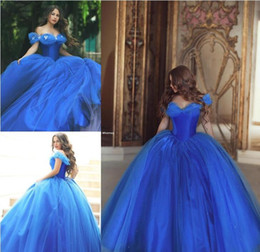 Wholesale Color Butterfly Beads - Dramatic Cinderella Quinceanera Ball Gown Dresses 2017 Royal Blue Evening Dresses Off Shoulder with Butterfly Beading Zipper Sparkling Skirt