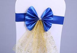 Wholesale Organza Chair Sashes Ribbons - Sashes Chair Covers Bow Sash Wedding Banquet Party Decorations Elastic Satin Ribbon Crystal Organza Chairs Back Bows Wedding Supplies