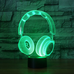 Wholesale Modern Black Table - headphones 3D Night Light 7 Colors Changing Table Desk Deco Lamp Bedroom Children Room Decorative Night Light