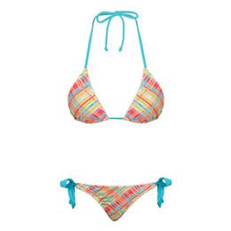 Wholesale Young Girls Bikinis - Hot Fashion Sexy Lace Bikini Beachwear Set Plaid Two Piece Top Class Teen Swimwear Young Girl Beach Wear