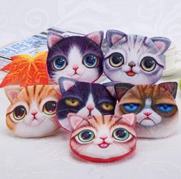Wholesale Big Zipper Purse - 3D Printing Cat Face Fidget Spinner Bags Cartoon Handbag Plush MINI Coin Purses Wallets Zipper Key Headphone Holder Bags