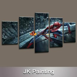 Wholesale Movie Canvas Art - Free shipping 5 pcs Spider-Man Movie modern Canvas Painting Art for children's living room decor from HD movie poster image print on canvas