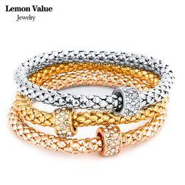 Wholesale Lemon Plate Set - Wholesale- Lemon Value Bijoux Punk Gold Plated Chain Bangles Vintage Charms Elastic Crystal Rhinestone Bracelet Women Jewelry Pulseras E012