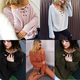 Wholesale Cotton Garter Belt - 2017 Fashion Knitted Sweater Women sexy V-NECK long sleeve Lace up Sweater ladies Causal Solid Loose Sweater Tops DZY170812