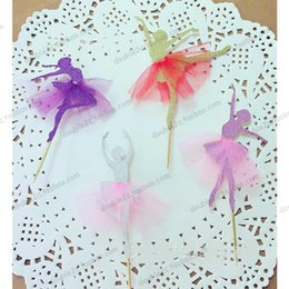 Wholesale Wholesale Girl Cupcake Dresses - Wholesale- Cupcake Topper Princess Ballet with Lace Dress,24pcs Glitter Dancer Cup Cake Topper Decoration for Wedding Party,Girl Birthday