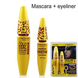 Wholesale Cheetah Sets - Wholesale-1Set=2pc High Quality Professional Make up Eye liner Set Leopard Colossal Black Mascara + Liquid Entice Cheetah Eyeliner