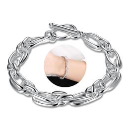 Wholesale silver rolo bracelet chain - 925 Sterling Silver Plated Rolo Chain Bracelet Geometric Pattern Charms Bracelet Bangle Fashion Silver Jewelry Women Bracelet Birthday Gifts
