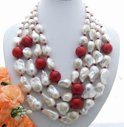 Wholesale Plant Coral - Beautiful! Bead-Nucleated Pearl&Coral&Jape Necklace