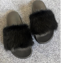 Wholesale Strap Flat Girls - 2017Leadcat Fenty Rihanna Shoes Women Slippers Indoor Sandals Girls Fashion Scuffs Pink Black White Grey Fur Slides Without Box High Quality