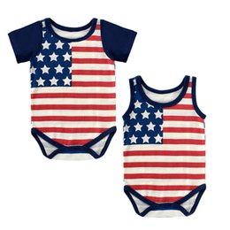 Wholesale Wholesale Cotton Sweaters - Baby Rompers American Flag Summer Cotton Baby Jumpsuits One-piece Garment Stars Stripes Short Sleeve & Sleeveless Sweater