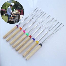 Wholesale Heat Corn - BBQ forks Camping Campfire corn Hot Dog Telescoping Barbecue Roasting Fork Sticks Skewers BBQ forks c156