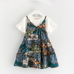 Wholesale Two Piece Suit Tutu - 2017 Children Clothing Sets Princess Girls Flowers Summer Suspender Dress + Short Sleeve Tee tops Two piece Set Suits For girl A6873