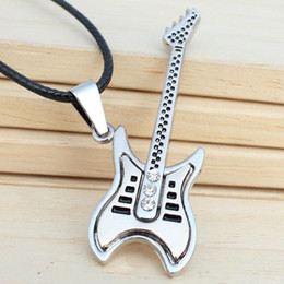 Wholesale Popular Guitars - Europe and the United States popular titanium steel jewelry music home electronic guitar diamond pendant leather rope necklace Shuai Shuang