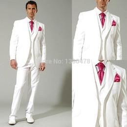 tuxedo dello sposo bianco nuovo stile Sconti All'ingrosso-vestito personalizzato Nuovo stile bianco Smoking Groomsman Best Man Suit Mens Abiti da sposa (Jacket + Pants + Vest + Tie) Spedizione gratuita