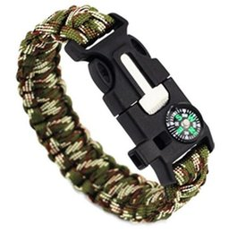 Wholesale Emergency Compass - Outdoor Survival Bracelets Gear Kits Escape Paracord Bracelet Flint Whistle Compass Scraper for Hiking Camping 5 in 1 Emergency Survival Bra