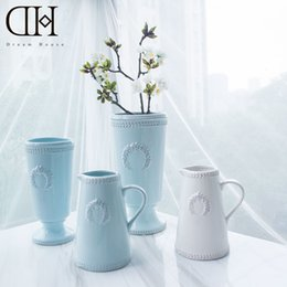 Wholesale ceramic vase blue - luxury wheat theme sky blue ceramic vase home Decorative tabletop porcelain flower bottle xmas decor floor vase house ornament