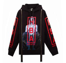 Wholesale Black Hedge - Supremitied Sweatshirts European style Unisex Black Light spine Double zipper HBA Printing Hedging Sweatshirts Men's Hoodies