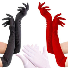 Wholesale Long Costume Gloves - Satin Long Finger Elbow Sun protection gloves Opera Evening Party Prom Costume Fashion Glove black red grey Weeding White Five Fingers Glove