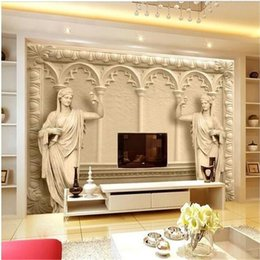 Wholesale Custom Photo Backdrop Printing - Wholesale- Custom photo wallpaper 3D Continental mural reliefs backdrop simple fashion large mural 3d wall murals wallpaper painting
