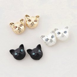 Wholesale realistic heads - 2017 New Girls Vintage Designer Gold Silver Black Realistic Lovely Cat Head Ear Stud Earring for Women brinco de meninas E328