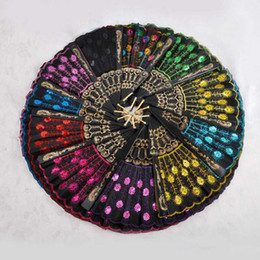 Wholesale Flowers Supplies - Plastic Embroidered Sequins Folding Flower Lace Fan Dance Hand Fans Party Wedding Decor Dancing Supplies Spanish Style ZA3499