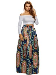 Wholesale Flower Maxi Skirt - 2017 Vintage Print Skirts Long High Waist Slim Skirt African tribal Abstract Flowers Skirts Fashion Maxi Skirt