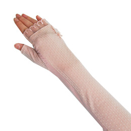 Wholesale Driving Gloves Woman - 12pcs Sunscreen Gloves Non-slip Breathable Summer Ice Golf Driving Long Arm Anti UV Lace Sunscreen Cuff Mittens
