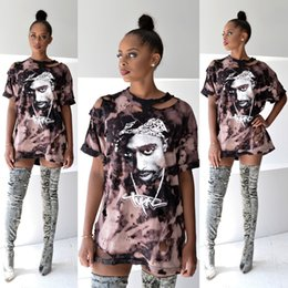 Wholesale T Shirts Sexy Holes - Wholesale- hot new t shirt women print shirt dress 2016 sexy hole tupac hip-hop short sleeve t-shirt femme tops plus size clothing