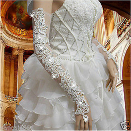 Wholesale Ivory Lace Bridal Gloves - New Arrival Flower lace long fingerless bridal gloves with Sparking rhinestones