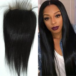 Wholesale Middle Top Closure - Lace Closure Straight Brazilian Virgin Human Hair Top Closures With Baby Hair Middle Free 3 Part FDSHINE Hair