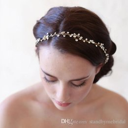 Wholesale Gold Crown Head Band - 2017 Crystal Head Band with Gold Alloy Tiara Crowns Bridal Ribbon Hair Piece Pearls Bridal Accessories Twigs & Honey Inspired